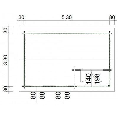 Bild 66 von Azalp Blockhaus Kinross 550x350 cm, 45 mm