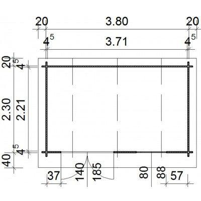 Bild 25 von Azalp Blockhaus Cornwall 400x250 cm, 45 mm