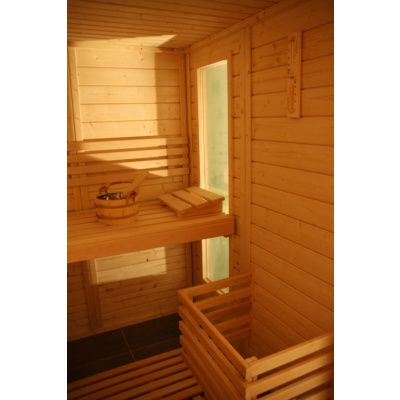 Afbeelding 10 van Azalp Massieve sauna Genio 240x230 cm, 45 mm