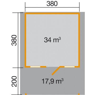 Afbeelding 2 van Weka Tuinhuis 135A Gr. 2 met Luifel 200cm