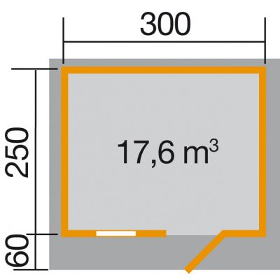 Afbeelding 2 van Weka Tuinhuis 131 Gr. 2 met Luifel 60cm
