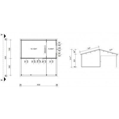 Bild 46 von Azalp Blockhaus Ben 650x650 cm, 45 mm