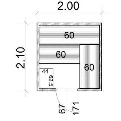 Afbeelding 2 van Azalp Massieve sauna Eva 200x210 cm, 45 mm