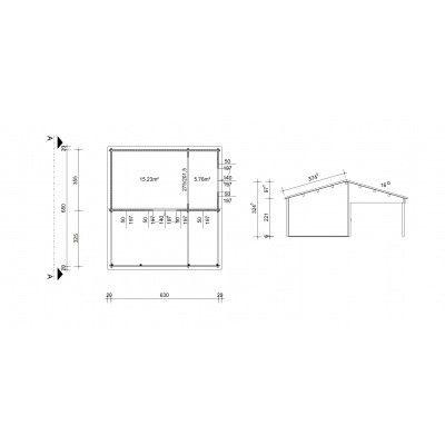 Bild 46 von Azalp Blockhaus Ben 650x700 cm, 45 mm