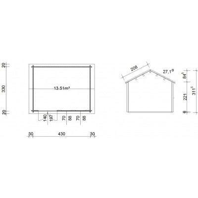 Bild 45 von Azalp Blockhaus Lynn 450x350 cm, 45 mm