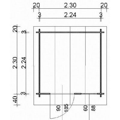 Bild 63 von Azalp Blockhaus Kent 250x250 cm, 30 mm