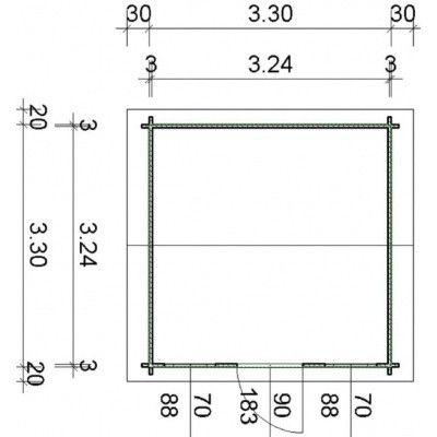 Bild 55 von Azalp Blockhaus Lis 350x350 cm, 30 mm