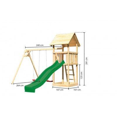 Afbeelding 2 van Akubi Speeltoren Lotti met glijbaan en dubbele schommel (89347)