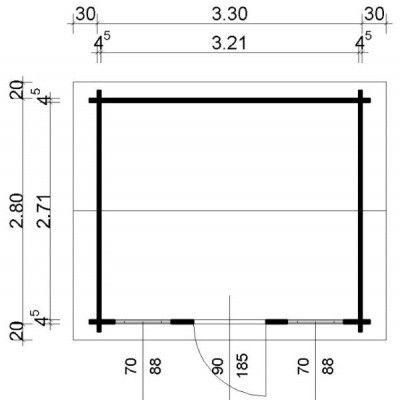 Bild 24 von Azalp Blockhaus Mona 350x300 cm, 45 mm