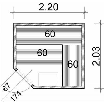 Afbeelding 2 van Azalp Elementhoeksauna 220x203 cm, espen