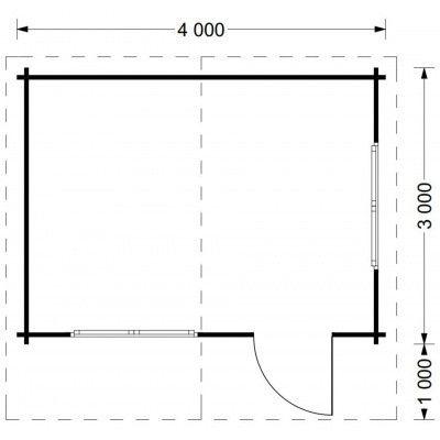 Afbeelding 9 van Graed Dreux Blokhut 400x300 cm, 44 mm ACTIE