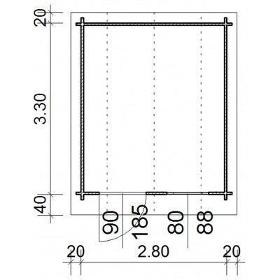 Bild 63 von Azalp Blockhaus Kent 300x350 cm, 45 mm