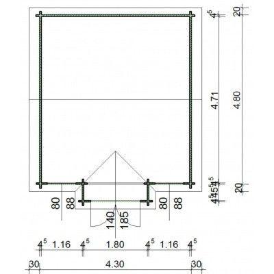Bild 12 von Azalp Blockhaus Essex 450x500 cm, 45 mm