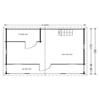 Bild 5 von Graed Livington Chalet 600x600 cm, 68 + 68 mm (Doppelwandig)