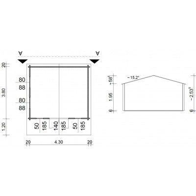 Bild 5 von Azalp Blockhäuser Stefan 450x400 cm, 45 mm