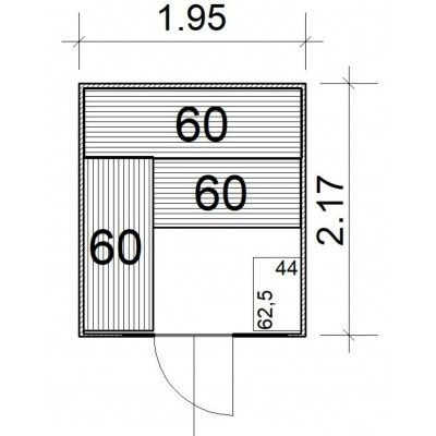 Afbeelding 4 van Azalp massieve sauna Rio Glass 195x217 cm, 39 mm