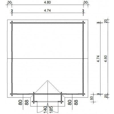 Afbeelding 12 van Azalp Blokhut Essex 500x500 cm, 30 mm