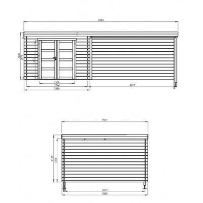 Afbeelding 2 van Debro Bayonne met veranda 400 cm, Hoge druk geïmpregneerd