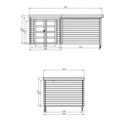 Afbeelding 2 van Debro Fouronnes met veranda 300 cm, Hoge druk geïmpregneerd