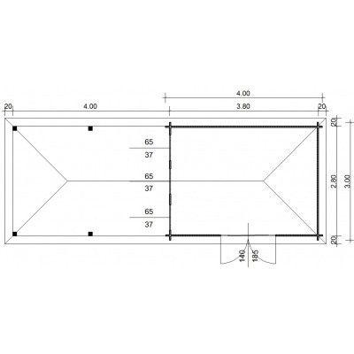 Bild 23 von Azalp Blockhaus Cas 790x300 cm, 45 mm