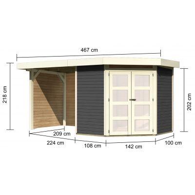 Afbeelding 2 van Woodfeeling Namen 3 met veranda 240 cm Terragrijs