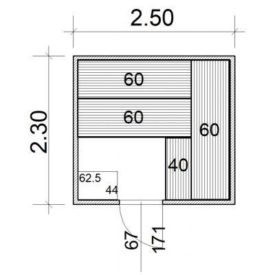 Afbeelding 2 van Azalp Massieve sauna Eva 250x230 cm, 45 mm