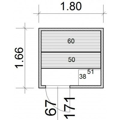 Afbeelding 43 van Azalp Massieve sauna Genio 180x166 cm, 45 mm