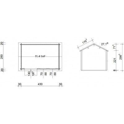 Bild 45 von Azalp Blockhaus Lynn 450x300 cm, 45 mm
