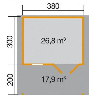 Afbeelding 2 van Weka Tuinhuis 111A Gr. 2 met Luifel 200cm