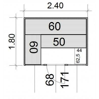 Afbeelding 4 van Azalp Massieve sauna Eva Optic 240x180 cm, 45 mm