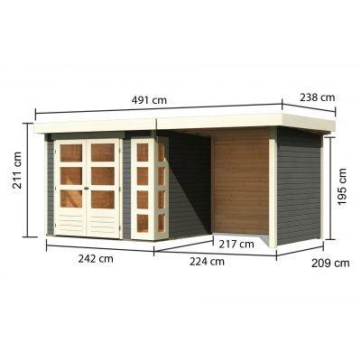 Afbeelding 2 van Woodfeeling Kerko 3 met veranda 240 cm (82935)