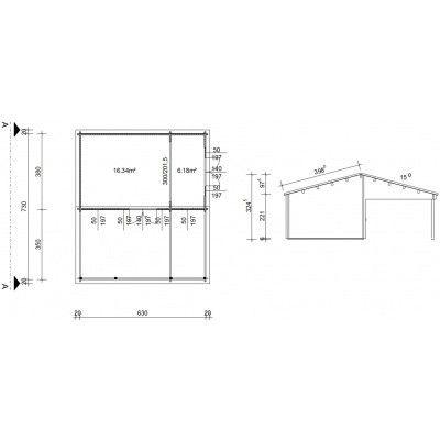Bild 46 von Azalp Blockhaus Ben 650x750 cm, 45 mm