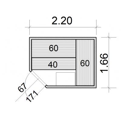 Afbeelding 39 van Azalp Massieve hoeksauna Genio 220x166 cm, 45 mm