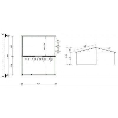 Bild 46 von Azalp Blockhaus Ben 650x750 cm, 60 mm