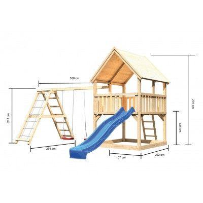 Afbeelding 2 van Akubi Speeltoren Luis met glijbaan, dubbele schommel en klimgedeelte (89373)