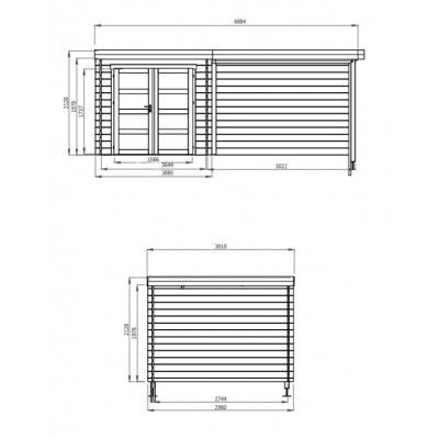 Afbeelding 2 van Debro Angoisse met veranda 300 cm, Hoge druk geïmpregneerd