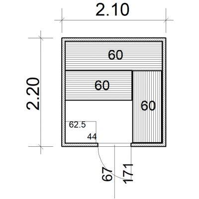 Afbeelding 2 van Azalp Massieve sauna Eva 210x220 cm, 45 mm