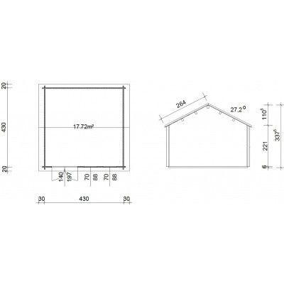 Bild 46 von Azalp Blockhaus Lynn 450x450 cm, 30 mm