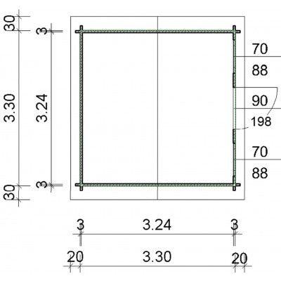 Bild 24 von Azalp Blockhaus Mona 350x350 cm, 30 mm