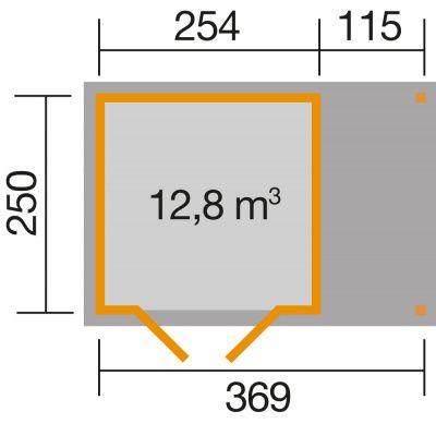 Afbeelding 2 van Weka Tuinhuis 321A Gr. 3 Aanbouw 115cm