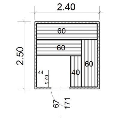 Afbeelding 2 van Azalp Massieve sauna Eva 240x250 cm, 45 mm