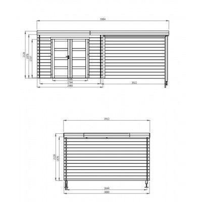 Bild 2 von Debro Bayonne mit Veranda 300 cm, Hochdruck imprägniert