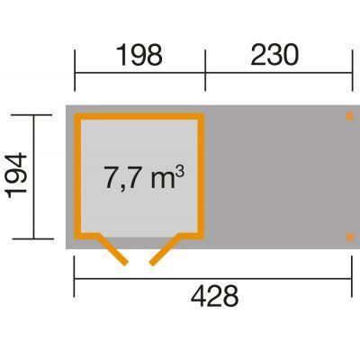 Afbeelding 2 van Weka Tuinhuis 321B Gr. 1 Aanbouw 230cm