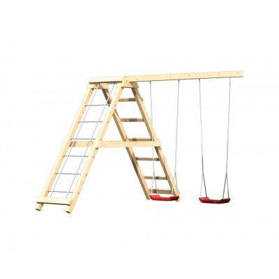 Afbeelding 3 van Akubi Speeltoren Luis met glijbaan, dubbele schommel en klimgedeelte (89377)