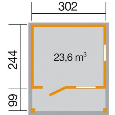 Afbeelding 2 van Weka Tuinhuis 820 Gr. 2 met Luifel 100cm