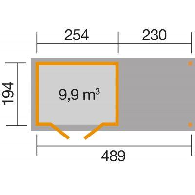 Afbeelding 2 van Weka Tuinhuis 321B Gr. 2 Aanbouw 230cm