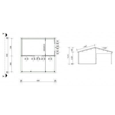 Bild 46 von Azalp Blockhaus Ben 650x650 cm, 60 mm
