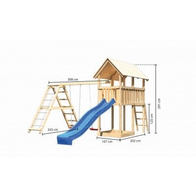 Afbeelding 2 van Akubi Speeltoren Danny met glijbaan, dubbele schommel en klimgedeelte (89361)