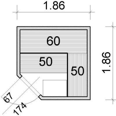 Afbeelding 22 van Azalp Elementhoeksauna 186x186 cm, espen