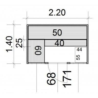 Afbeelding 4 van Azalp Massieve sauna Eva Optic 220x140 cm, 45 mm